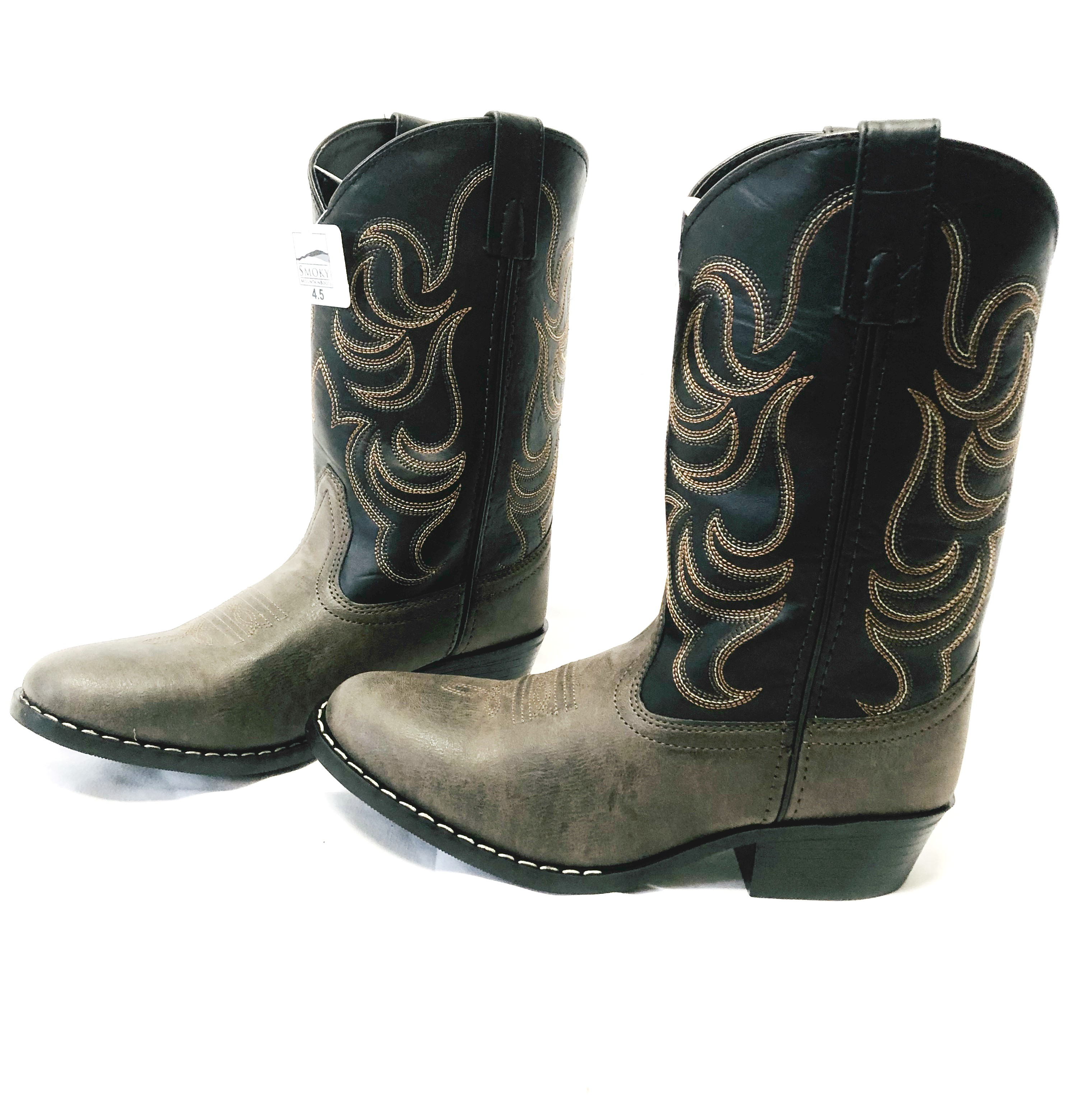 2f616e53500 Details about Smoky Mountain Youth Boys Monterey Western Cowboy Boots Brown  and Black Size 4.5